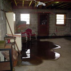 A flooded basement showing groundwater intrusion in Portland