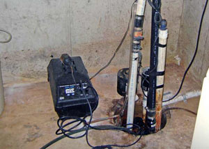 Pedestal sump pump system installed in a home in McMinnville