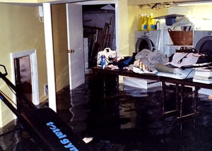 A laundry room flood in Lake Oswego, with several feet of water flooded in.