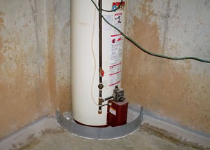 A water heater in Lebanon that's been protected by the FloodRing® and a perimeter drain system.