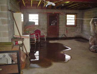a flooded basement floor in a The Dalles home