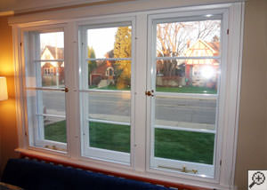 A basement window insulation panel installed in a home in Albany.
