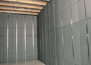 SilverGlo™ insulation and metal studs making up our Basement to Beautiful panels.  Installed in Beaverton.